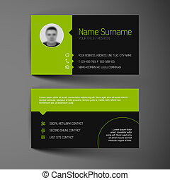 Modern dark business card template with flat user interface...