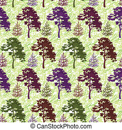 Seamless, trees and abstract pattern - Seamless background,...