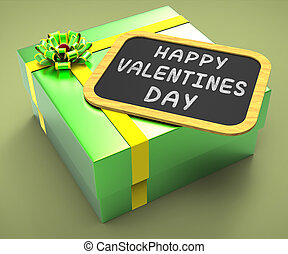 Happy Valentines Day Present Showing Romantic Celebration Or Valentines