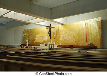 New and modern cathedral of Fatima - golden interior of the...