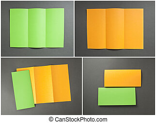 blank orange and green folding paper flyer - identity...