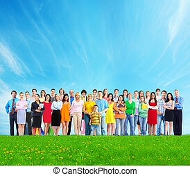 People group. - Big family people group over blue sky...