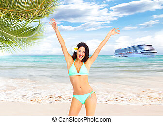 Happy woman on the beach - Happy woman on Punta Cana beach...