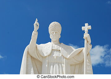 Pope Pio XII in Sanctuary of Fatima - statue of the pope in...