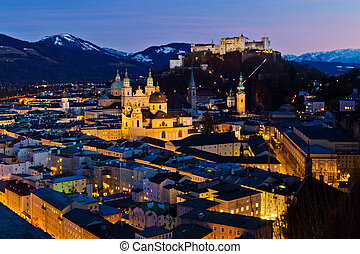 salzburg, austria, cityscape - a city view of the city of...