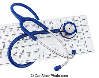 stethoscope and keyboard of a computer