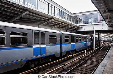 umerum subway - Subway train arrives to station. Russia
