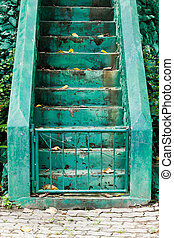 sement stairs with green line for separated up or down