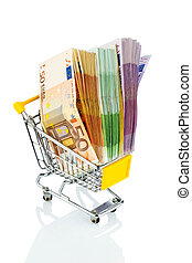 bills in a shopping cart - euro bank notes in a shopping...