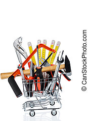 tool in a shopping cart - hand tool in a shopping cart icon...
