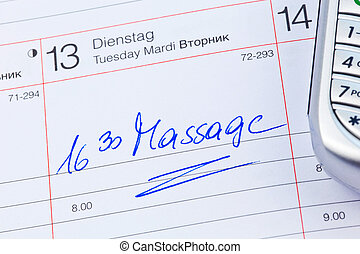entry to the calendar: massage - a date is entered on a...