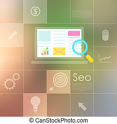 SEO concept - illustration of SEO concept in flat style