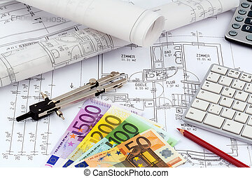 house plan with euro banknotes - an architects blueprint...
