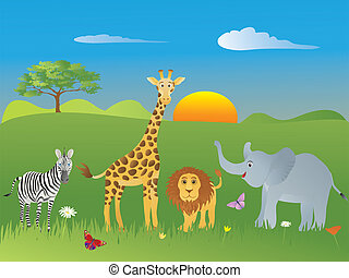 Safari Animals - Childrens illustration of safari animals on...