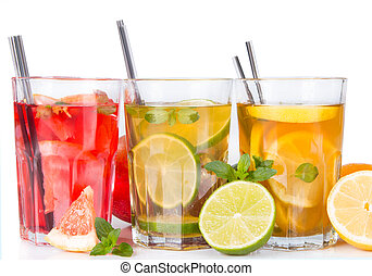 ice tea - Grapefruits, lime and lemon, slice, mint ice tea...