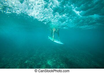 surfando, onda, sob, água, quadro