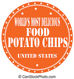 Potato Chips-label - Label with text Potato Chips,vector...