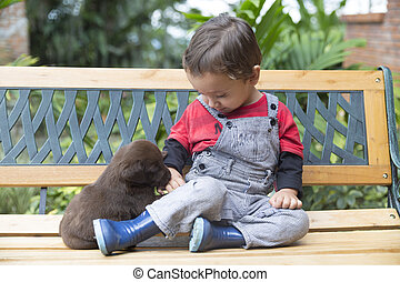 Adorable Baby And His Dog - Portrait of Adorable Baby And...