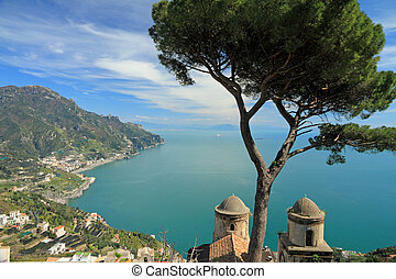 Amalfi coast in Ravello - View of the Salerno Bay from the...