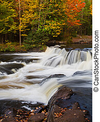 Upper Bond Falls Autumn - Whitewater courses over boulders...