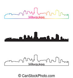 Milwaukee skyline linear style with rainbow in editable...