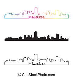 Milwaukee skyline linear style with rainbow in editable...
