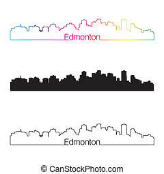 Edmonton skyline linear style with rainbow in editable...