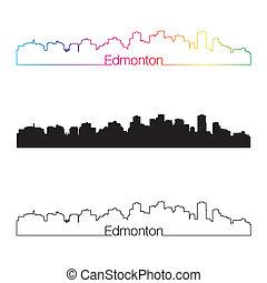 Edmonton skyline linear style with rainbow in editable...