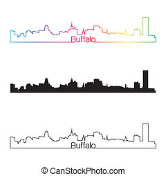 Buffalo skyline linear style with rainbow in editable vector...