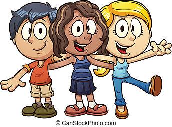 Kids firends - Cute cartoon kids Vector clip art...