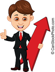 Businessman holding a red arrow