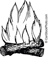 campfire - hand drawn, cartoon, sketch illustration of...