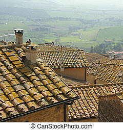 landscape with roofs of houses in small tuscan town Casale...
