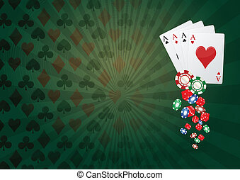 poker fiches - illustration of aces poker with colorful...