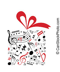 Music gift - Music concept vector of gift box with red...