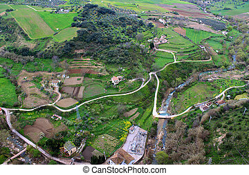 Valley in Ronda - Birds eye view of the valley in Ronda,...
