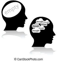 Empty and busy minds - Concept illustration showing a head...