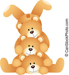 Stack of teddy bears - Scalable vectorial image representing...