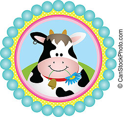 Cute Cow Round Label