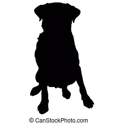 Labrador Retriever Silhouette - A silhouette of a sitting...