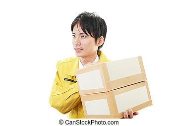 Courier Service - Asian courier delivering a package Smiling...