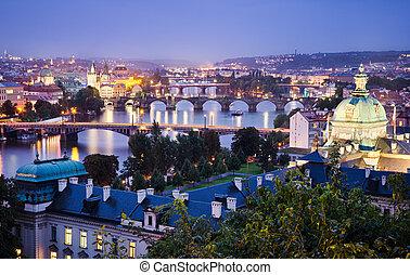 Night skyline of Prague