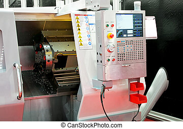 Lathe machinery 2 - Close up shot of automatic lathe...