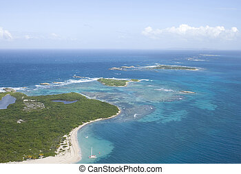 Aerial view of Icacos and Lobos Island Puerto Rico - Aerial...