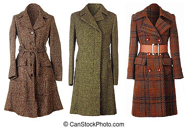 Coats - Three woolen coats isolated on white background