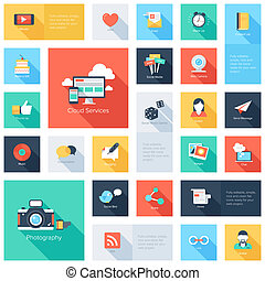 Social media icons - Vector set of modern flat and colorful...