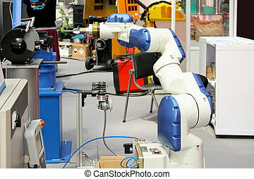 White robotic arm for industry production isolated