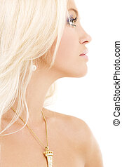 diamond pendant - bright sideview picture of lovely blonde...