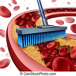 Cleaning Arteries - Cleaning arteries concept as a broom...