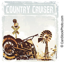 country cruiser - motorcycle vector illustration for shirt...